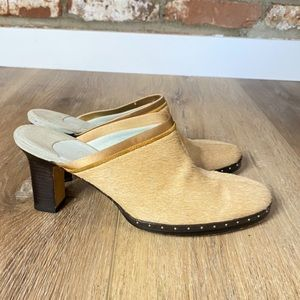 Cole Haan Tan Calf Hair Studded Mules  Size 8B